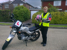 A1 Motorcycle Training Student & her motorbike
