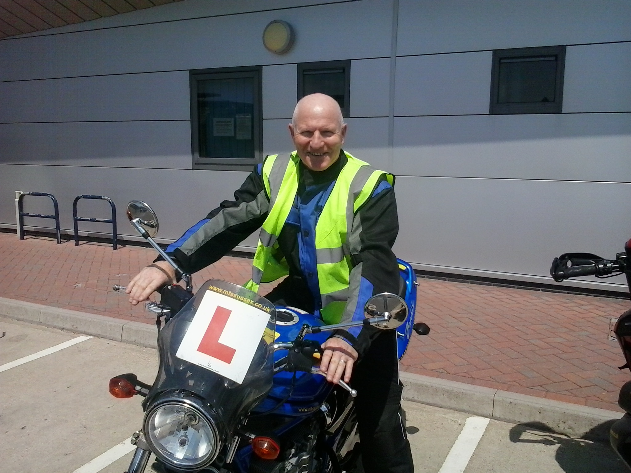 Bobs ear to ear grin at Burgess Hill test centre!