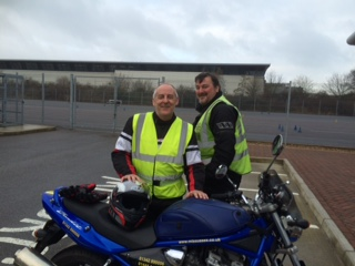 Crawley biker being photo bombed at DVSA test centre!