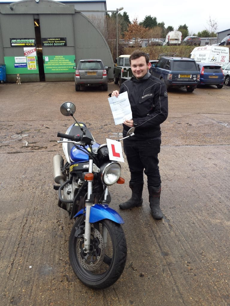 Happy Liam Hobden with his A2 pass!