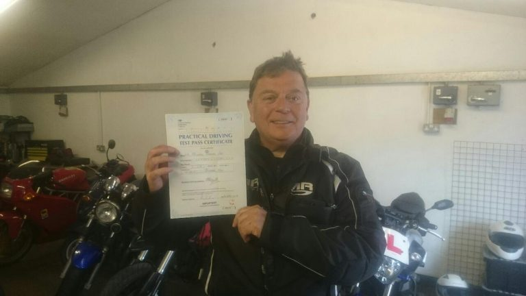 No stopping Mike now, summer, two wheels and a full bike licence to ride!