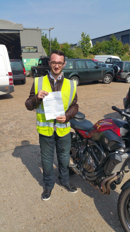 Happy Horsham Biker passes DAS