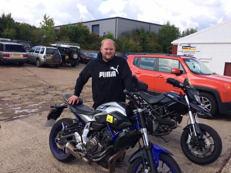 Michael Elliott's ready for his Harley Davidson now!