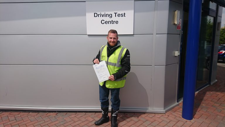 With a Suzuki GSX1000 waiting, Dan is releaved to pass his DAS!