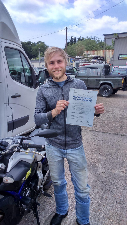 Niklas Lanik of Horley proudly shows his DAS pass